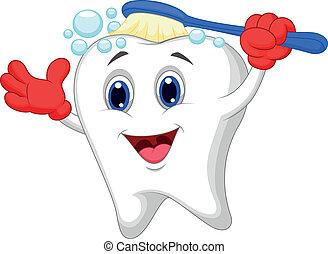 diente, feliz, caricatura, cepillado