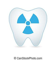 diente, icono, con, un, radioactivo, señal