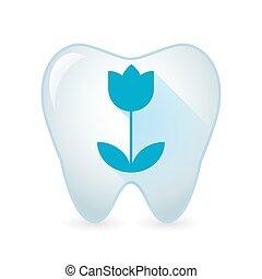 diente, icono, con, un, tulipán