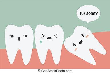 diente, impresionado