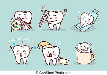 diente, lindo, caricatura, cepillo, concepto