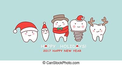 diente, lindo, navidad, celebrar, caricatura