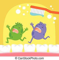diente, microbios, y, cepillo de dientes