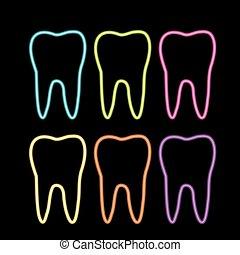 diente, neón, gráfico, dentista