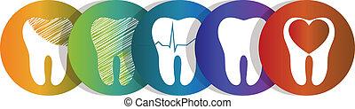 diente, símbolo, conjunto