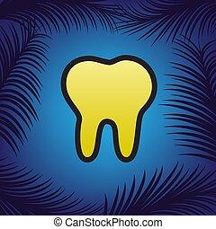 diente, señal, illustration., vector., dorado, icono, con, negro, contorno