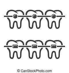 dientes, fierros, iconos, conjunto, blanco, fondo., vector