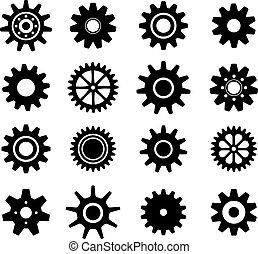 dientes, ruedas, conjunto, engranaje, iconos
