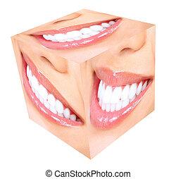 dientes, whitening., mujer, smile.
