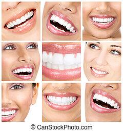 dientes, y, sonrisa