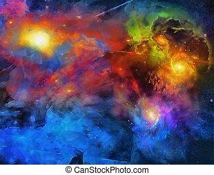 diep, ruimte, schilderij