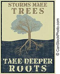 dieper, maken, stormen, bomen, nemen, wortels