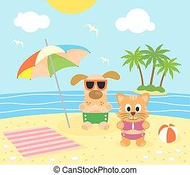 dier, achtergrond, zomer, tien