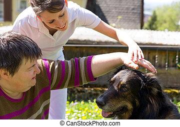 dier, geassisteerd, therapie, met, een, dog