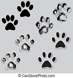 dier, kat, poot, hardloop wedstrijd, voetjes, afdrukken, iconen, met, shadow.