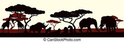 dier, silhouette, afrikaan, safari, landscape, scène