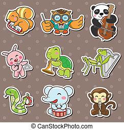 dier, speel muziek, stickers