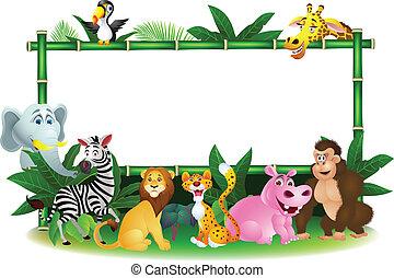 dier, spotprent, met, leeg teken