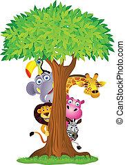 dier, spotprent, verbergen achter, boompje