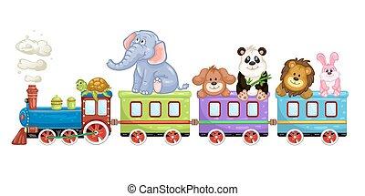 dier, trein, spotprent
