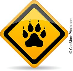 dier, wild, meldingsbord, poot, waarschuwend