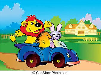 dieren, auto.