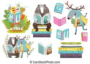 dieren, boekjes , set, lezende , smart