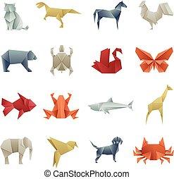 dieren, creatief, papier, vector, aziaat, origami, kunst
