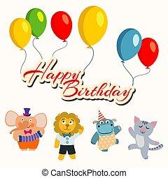 dieren, dancing, ballons, jarig, spandoek, spotprent, vrolijke