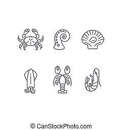 dieren, eenvoudig, seafood, set, vector, zee, pictogram