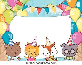 dieren, feestje, jarig, spandoek