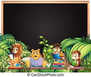 dieren, frame, boek, ontwerp, wild, lezende