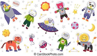 dieren, karakters, raket, ruimte, vrijstaand, kostuums, planeet, stars., vector, dier, baby, witte , spotprent, kids.