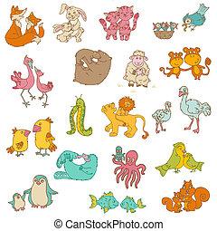 dieren, mamma's, -, hand, vector, ontwerp, plakboek, baby, ...