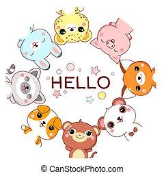 dieren, nieuwsgierig, gekke , frame, schattig