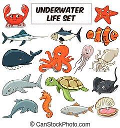 dieren, onderwater, vector, set, spotprent