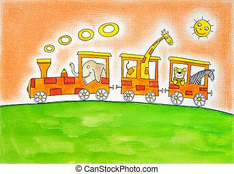 dieren, op, uitstapjes, werkje van het kind, het schilderen watercolor, op, papier