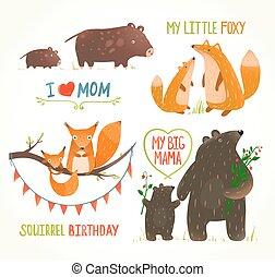 dieren, ouder, baby, jarig, bos, kaarten, feestje, spotprent