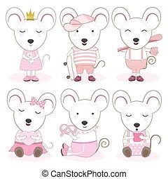 dieren, schattig, muis, set, illustratie, spotprent