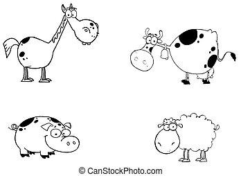 dieren, set, boerderij, spotprent, karakters
