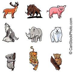dieren, set, verzameling
