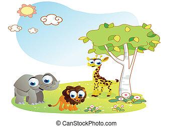 dieren, spotprent, met, tuin