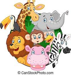 dieren, spotprent, safari