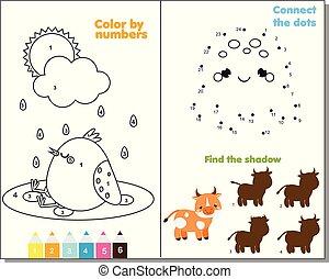 dieren, thema, activiteit, pagina, voor, kids., onderwijs, kinderen, spel, set