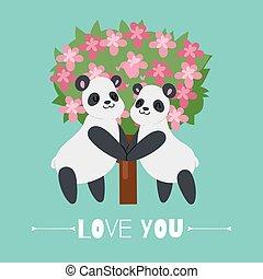 dieren, valentijn, panda, s, vector, illustration., paar, minnaars, dag, liefde, spotprent, romantische, karakters