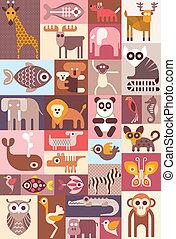 dieren, vector, illustratie