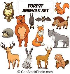 dieren, vector, set, spotprent, bos