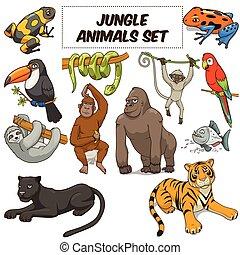 dieren, vector, set, spotprent, jungle