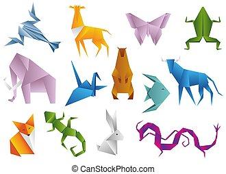dieren, veelhoek, kleur, set., illustratie, cartoons., origami, geometrisch