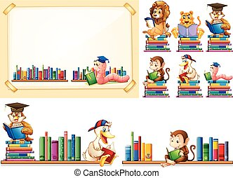 dieren, velen, frame, papier, boekjes , lezende